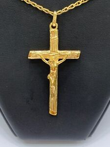 9ct 9k Yellow Gold Crucifix Cross Jesus Pendant 8.1 Grams. Brand New