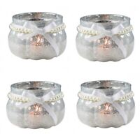 Set of 4 Round Pumpkin Mercury Glass Tea Light Candle Holders Wedding Decoration