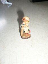 vintage Anri miniature wooden figurine Sarah Kay Kid leaning on baseball bat