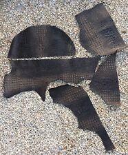 EDELMAN LEATHER Jumbo Crocodile Black Texture Hand Antiqued Cow Hide Cut Straps