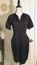 DVF DIANE VON FURSTENBERG Hardy Black Stretch Nylon Shirt pockets Dress size 6