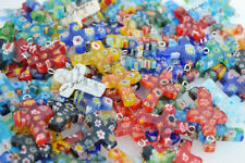Wholesale Lot 100pcs Flower Millefiori Glass Cross Silver Plated Bead Pendant