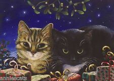 2 Cats & Mistletoe & Gifts Beautiful Xmas Card From Painting By Celia Pike 034