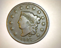 1827 US CORONET LARGE CENT  - EVEN WEAR, STRIKE, COLLECTOR COIN - NICE VF