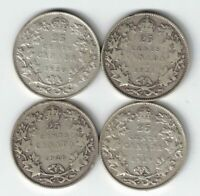 4 X CANADA TWENTY FIVE CENTS QUARTERS KING GEORGE V 800 SILVER COINS 1920 - 1929