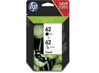 HP No 62 Black & Colour Original OEM Inkjet Cartridges C2P04AE - C2P06AE