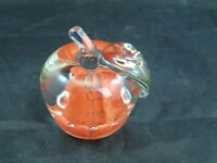 RARE 1974  Wheatonware Control Bubble Art Glass Orange Apple Paperweight