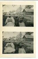Postcard Photo RPPC Double Photo Outdoor Farm Siblings Kids Windmill Building