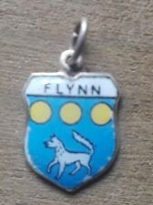 Flynn Coat of Arms / Family Crest Silver Plated Enamel Charm