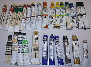 Vintage Grumbacher Gainsborough Liquitex Oil Paint Lot 27 Tubes Artist Quality