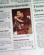 Freddie Mercury Rock Band Queen Singer Death of Aids 1991 Los Angeles Newspaper