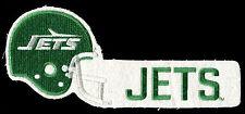 """1984 NEW YORK JETS NFL FOOTBALL VINTAGE 10.25"""" HELMET BLOCK TEXT TEAM PATCH"""
