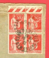 France 50c Block of 4 with Color Margin used on cover to USA