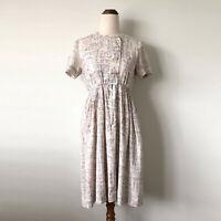 VINTAGE Handmade Cream Purple Pink Short Sleeve Fit & Flare Short Dress Size 6-8
