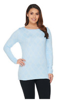 Attitudes by Renee Reversible Jacquard Knit Sweater, Clear Sky, Size XL, $54