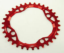 Absolute Black Oval MTB Chainring 4x104/64mm 34t 1x10,1x11,1x12, Red
