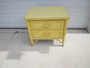Vintage Wood Nightstand or Side Table Hollywood Regency Faux Bamboo By Dixie