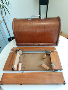 Vintage Singer Sewing Machine Wooden Brentwood Carry Case & Base