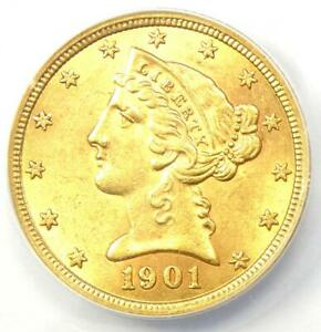 1901 Liberty Gold Half Eagle $5 Coin - Certified ANACS AU58 - Rare Coin!