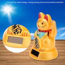 Solar Maneki Neko Winkekatze Gold Glücksbringer Winkende Katze Glückliche Katze