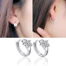 Crystal Zircon Snowflake Ear Studs Silver Plated Jewelry Hook Dangle Earring