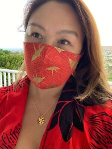 RED Japanese GOLD Origami Paper Crane cotton mask