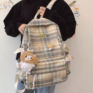 Backpack Korean Large capacity Students schoolbag Campus Stripe Style Waterproof
