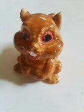 "4 "" Ceramic Squirrel Chipmunk holding belly cheerful Preowned"