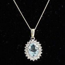 E715 Blue Topaz & Diamond Pendant 9c Gold Chain Necklace Delicate Jewellery  NEW