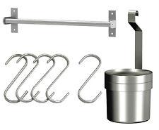 "IKEA rail 16"" + 5 hooks + cutlery caddy stainless steel kitchen storage Grundtal"