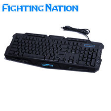 Russian backlit gaming keyboard gamer led backlight 3color breathing switchable