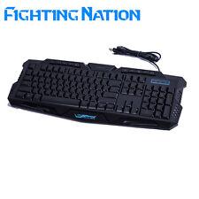 Russe rétroéclairé clavier de jeu gamer rétroéclairage led 3 couleur respirant commutable