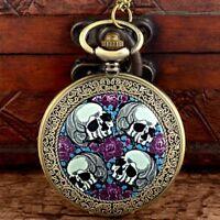 Vintage Antique Skull Pattern Steampunk Pocket Watch Quartz Necklace Chain Gift