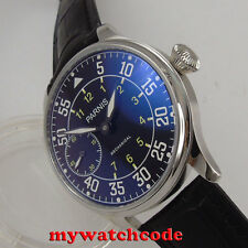 44mm parnis black dial super luminous makrs hand winding 6497 mens watch