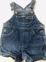Infant Unisex Arizona Jean Overalls Shortalls Blue Denim Shorts Sz 0-3 Mos
