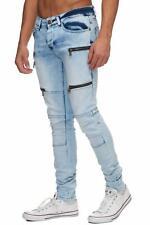 Jeans Uomo Biker Jeans Blu Stonewash Lampadine Denim Skinny Fit John Kayna