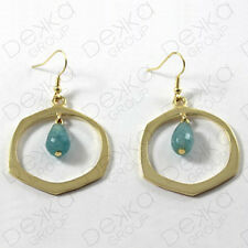 Gold Hoop Ring Aquamarine Earrings Hook Semi Precious Stone Bronze Gemstones