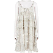 Thomas Wylde Beige White Butterfly Print Silk Chiffon Babydoll Dress S UK8 IT40