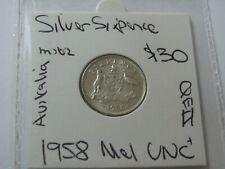 Australia 1958 M  Sixpence  Uncirculated  CV $30