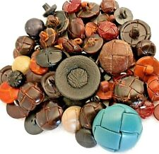 Vintage Leather Wrapped Shank Buttons, OVER 60 BUTTONS LOOK !  Lot # A3