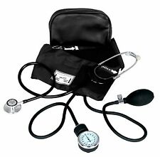 BLACK ADULT BP CUFF BLOOD PRESSURE KIT WITH MATCHING SEPERATE STETHOSCOPE