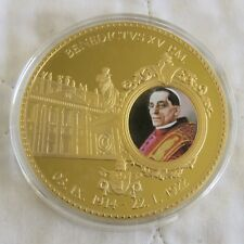 2012 POPE BENEDICT XV 70mm LARGE GOLD PLATED COLOURED PROOF MEDAL