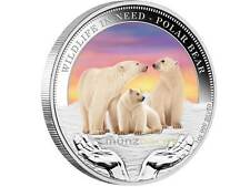1 $ Wildlife in Need Tuvalu 2012 Polar Baer Eisbär PP 1 Unze Silber silver proof