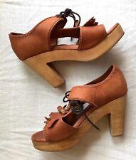 Rachel Comey Leather Wooden Clog Lace Up Tassel Sandals Heels  Size 7.5