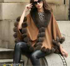 Opulent/Lady Real Cashmere Real Fox Fur Cloak poncho/Coat/Wraps/Cape/brown