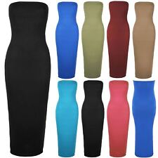 Plus Size Ladies Womens Boobtube Bandeau Strapless Top Jersey Maxi Bodycon Dress