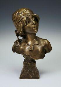 """ANTIQUE EMMANUEL VILLANIS, FRENCH ART-NOUVEAU BRONZE BUST STATUE WOMAN """"SAIDA"""""""