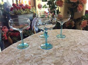 "Vtg 4 Bombay Sapphire Martini Glasses Coupe Style Barware Blue Stem 6"" High-6 Oz"