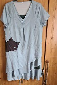 Ladies Black Cat Short Sleeve Dress Size 2XL