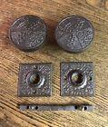 Antique Ornate Wrought Steel Vernacular Doorknobs & Rosettes, c1890